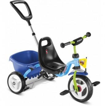 Rowerek trójkołowy CAT 1 S blue/kiwi z bagażnikiem, Puky