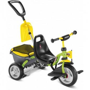 Rowerek trójkołowy CAT 1 SP yellow/kiwi z bagażnikiem i łopatką, Puky