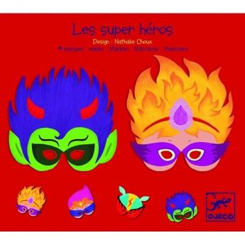Maski dla dzieci 4szt Super Bohaterowie, Djeco