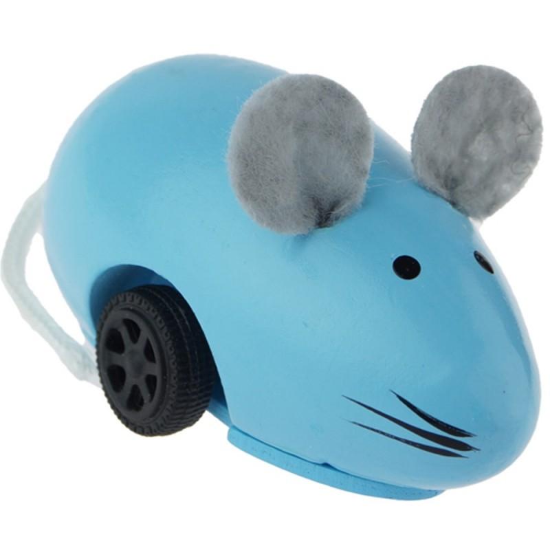 Uciekająca myszka niebieska drewniana, Vilac