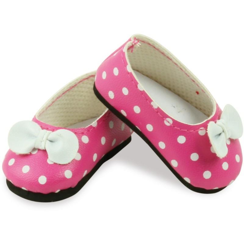 Buty dla lalek 34cm balerinki różowe ze wstążką, Petitcollin