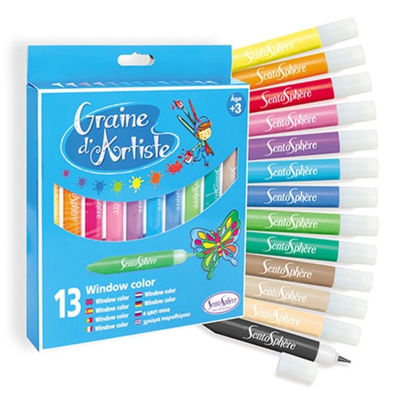 Farby do malowania na szkle 13 sztuk, SentoSphere