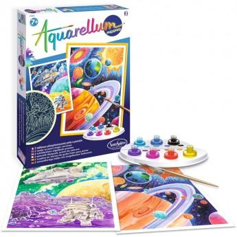 Aquarellum Kosmos 3 obrazy do malowania i farby, SentoSphere