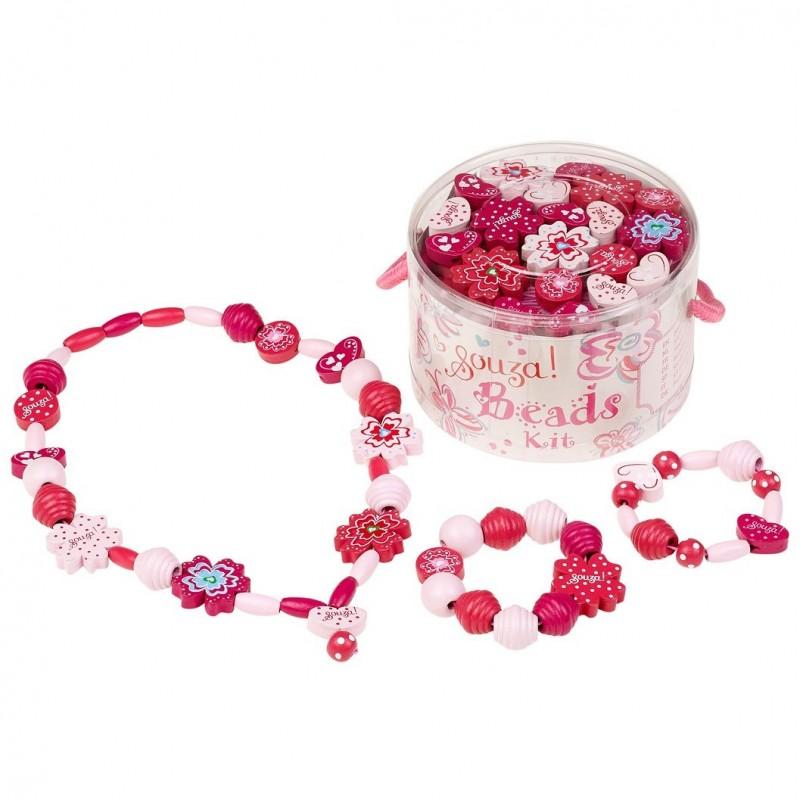 Koraliki drewniane różowe 280szt do tworzenia biżuterii, Souza!