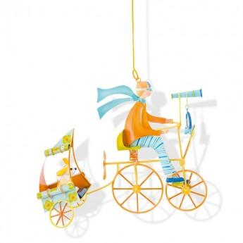 Dekoracja wisząca pomarańczowa Rower z pieskiem, L'Oiseau Bateau