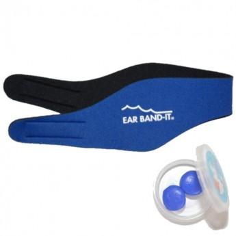 Opaska do pływania rozm. L niebieska z zatyczkami do uszu, Ear Band-It
