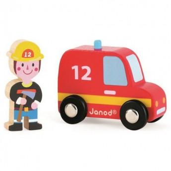 Wóz strażacki ze strażakiem zestaw drewniany, Janod