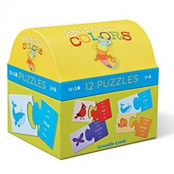 Zwierzęta i kolory puzzle 2 elementy, Crocodile Creek