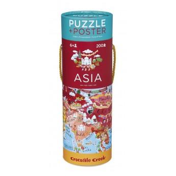 Azja puzzle 200 elementów z plakatem, Crocodile Creek