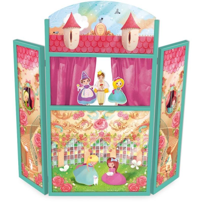 Vilac duży teatrzyk drewniany stojący Księżniczki z kukiełkami | Dadum