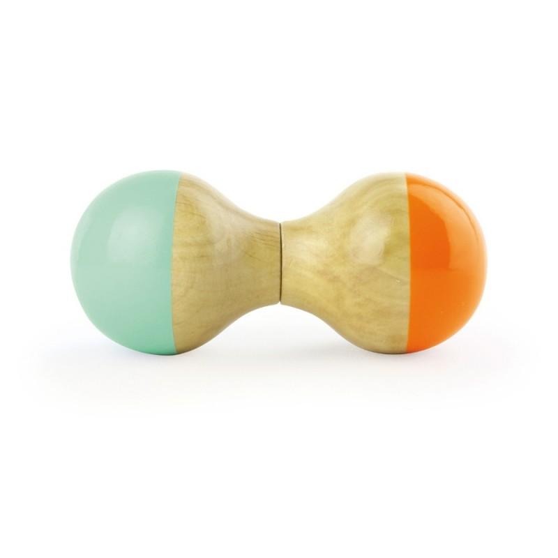 Marakas grzechotka drewniana mint-orange od 12mc, Vilac