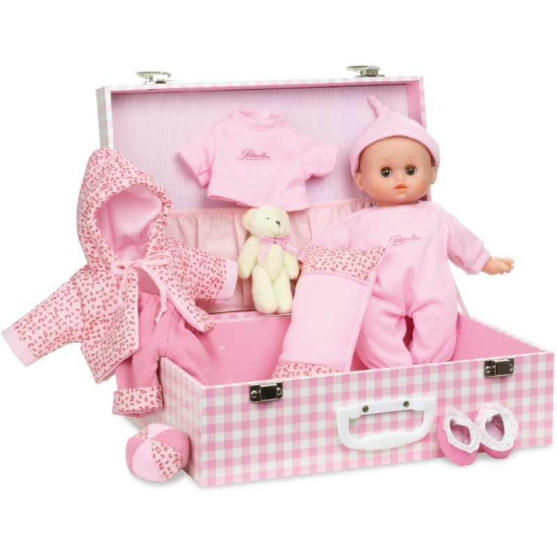 Lalka bobas dla dzieci 28cm Delia z różową walizką i akcesoriami, Petitcollin