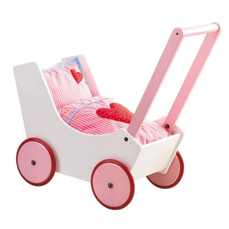 Drewniany wózek dla lalek pchacz Serduszka, Haba