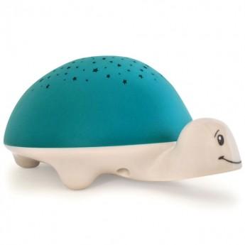 Lampka nocna Żółw z projektorem i pozytywką niebieska, Pabobo