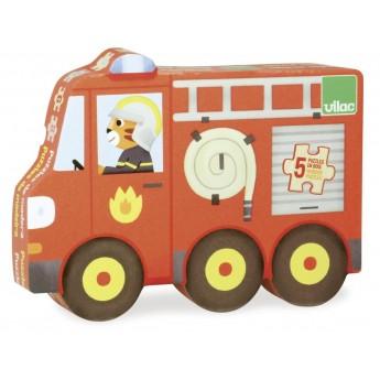 Puzzle Pojazdy drewniane ewolucyjne od 3 do 8 elementów, Vilac