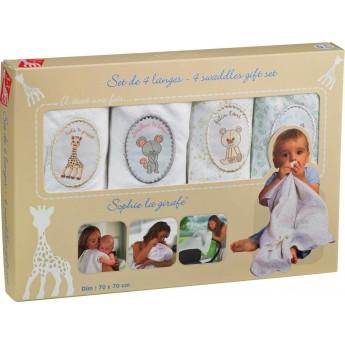 Zestaw 4 bawełnianych pieluszek, Żyrafa Sophie