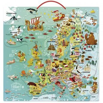 Magnetyczna mapa Europy puzzle edukacyjne dla 7 latka, Vilac