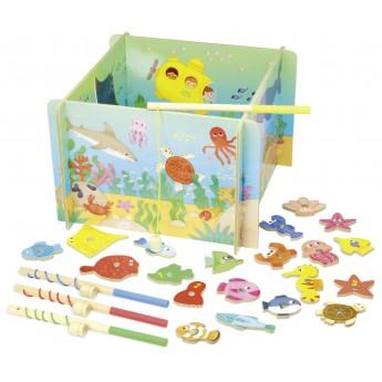 Łowienie rybek w oceanie gra magnetyczna, prezent dla 3 latka, Vilac