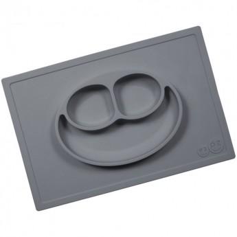 EZPZ Happy Mat szary silikonowy talerz 2w1