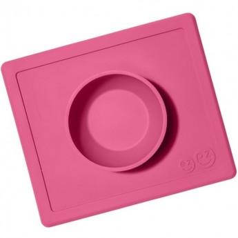 Happy Bowl różowa silikonowa miseczka 2w1, EZPZ