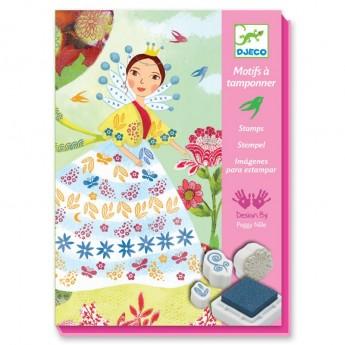 Kwiatowe Dziewczyny obrazy tła i stempelki piankowe, Djeco