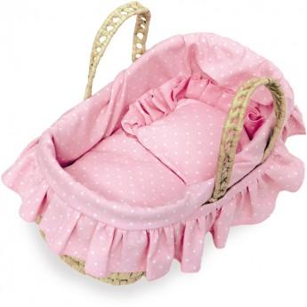 Koszyk dla lalek 28cm z pościelą Kropki, Petitcollin
