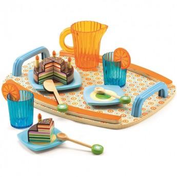 Djeco Przyjęcie urodzinowe na tacy, zabawka drewniana
