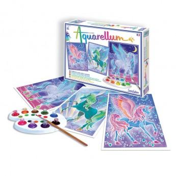 Pegaz 3 obrazy do malowania i farby Aquarellum, SentoSphere