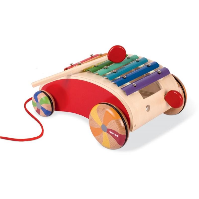 Cymbałki do ciągnięcia Tatoo Red Xylo Roller, Janod