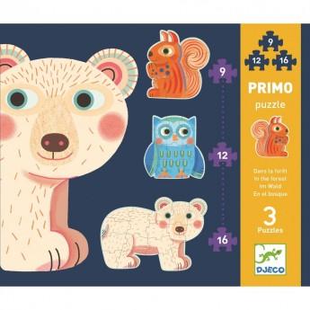 Zwierzęta Leśne puzzle ewolucyjne 9, 12, 16 elementowe, Djeco