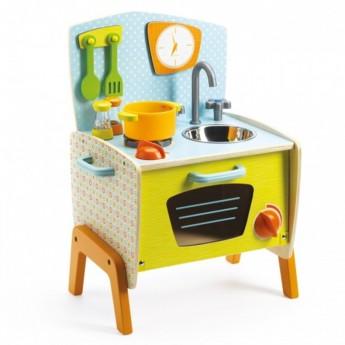 Djeco Kuchnia drewniana Gaby, z akcesoriami do zabawy