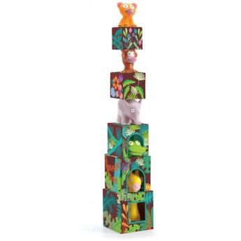 Topanijungle piramida klocków z zwierzętami dżungli, Djeco