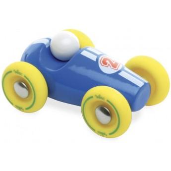 Wyścigówka niebieska z żółtymi kołami, Vilac