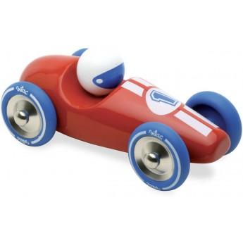 Duża wyścigówka czerwona z niebieskimi kołami, Vilac