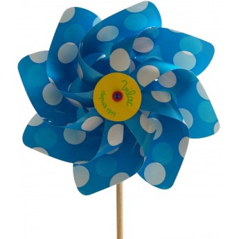 Wiatraczek niebieski w kropki z drewnianym kijkiem, Vilac