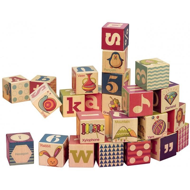 Klocki drewniane z literkami 24 sztuki Two Four Blocks, B.Toys