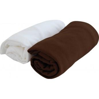 2 prześcieradła jersey 60x120cm białe/czekolada, Poyet