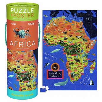 Afryka puzzle 200 elementów z plakatem, Crocodile Creek