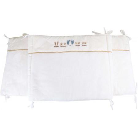 Ochraniacz do łóżeczka dla niemowląt 50x180cm Stópki błękitny, Poyet