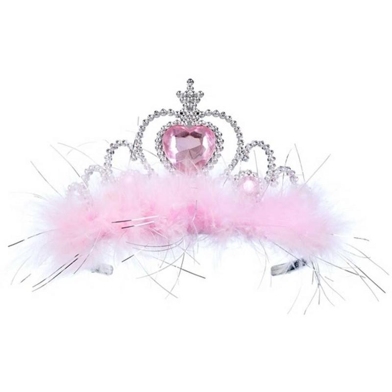 Opaska księżniczki Jaida różowo-srebrna