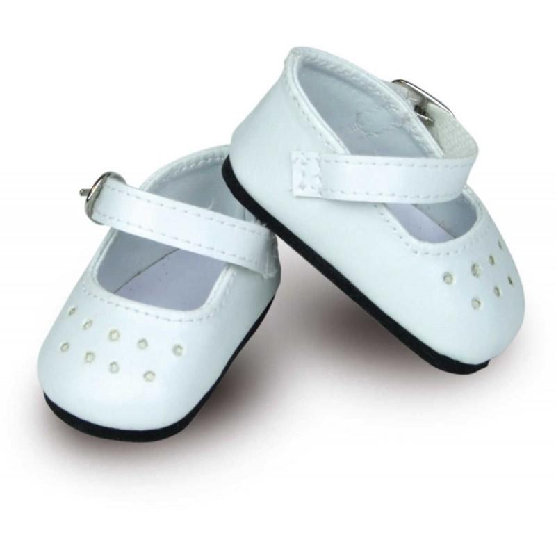 Buty dla lalek 39-48cm balerinki białe z paskiem Petitcollin