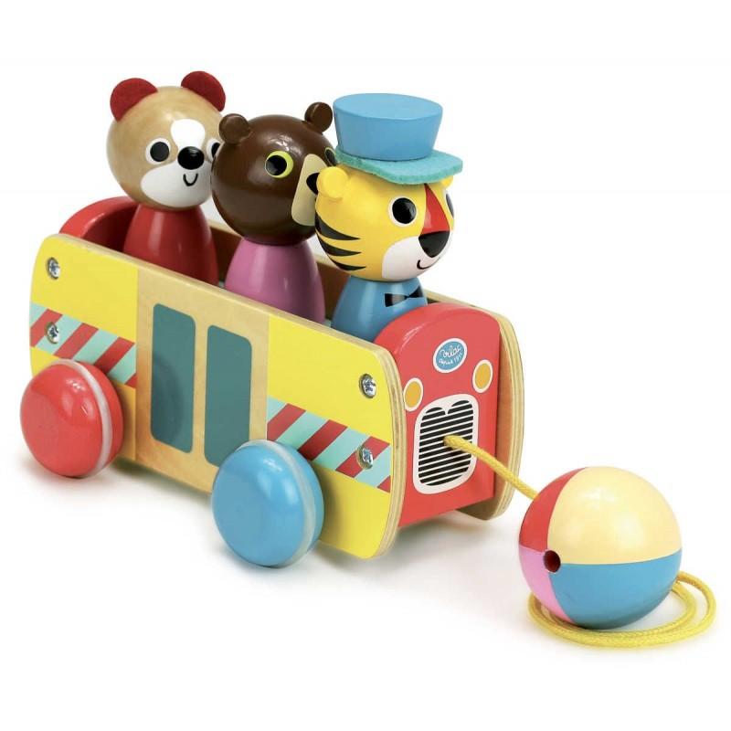 Zabawka do ciągnięcia Autobus drewniany -Ingela P.Arrhenius, VIlac