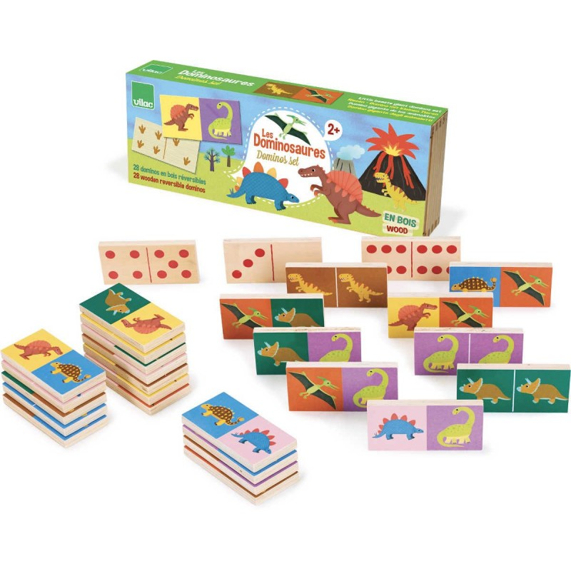 Domino obrazkowe dla dzieci Dinozaury drewniane, Vilac