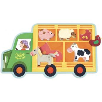 Układanka drewniana Farma i Auto do Zwierząt, Vilac