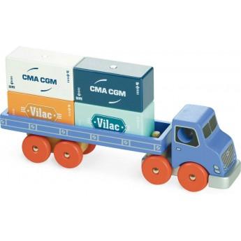 Ciężarówka do kontenerów zabawka drewniana, Vilac