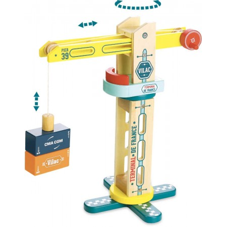 Dźwig dla dzieci zabawka drewniana, Vilac