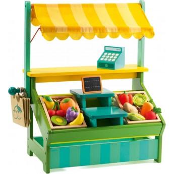 Sklep dla dzieci z warzywami Leo drewniany, Djeco