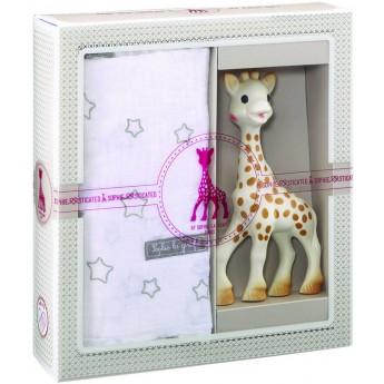 Zestaw na narodziny dziecka: gryzak Żyrafa Sophie i muślinowy otulacz