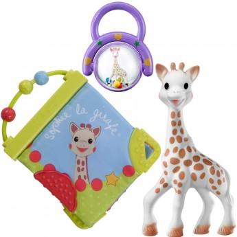 Zestaw gryzak Żyrafa Sophie, miękka książeczka i grzechotka w pudełku