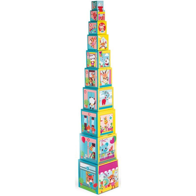 Piramida wieża 10 kostek Przyjaciele z miasta, Janod